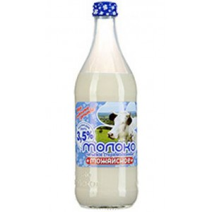 MOZHAYSKOYE - BRAND MILK, 3.5% FAT CONTENT, GLASS BOTTLE