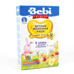 BEBI - MILK KASHA FROM 4 CEREALS WITH CHERRY AND BANANA