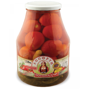 TODORKA - ASSORTI PICKLED TOMATOES & GHERKINS 5.68lb